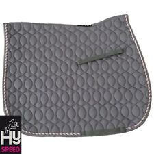 HySPEED Deluxe Saddle Pad – COB/FULL – GREY with Pink & Metallic Silver Cord