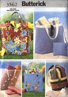 Butterick Sewing Pattern 3562 Beach Bag Hand Bag Craft Pattern