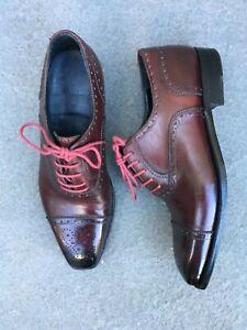ENZO BONAFE cap toe semi brogues in plum YOKO calf - Style 3579/Last 946 UK 8/F