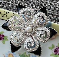 Vintage Flower Brooch Pin Rhinestone Silver Tone Black Enamel