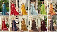 Saree Indian Ethnic Bollywood Wedding Bridal Floral Print Georgette Sari FancyTR