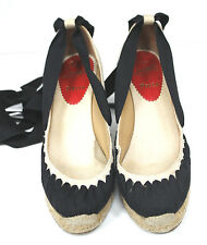 Christian Louboutin Ibiza Jute Black Beige Ribbon Espadrille Wedges 37 uk 4