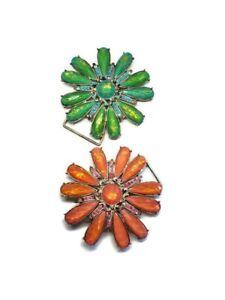 Flower Belt Buckle Chunky Rhinestone Glitter Statement Blue Orange Oversized