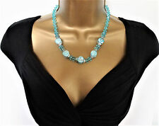 """Beautiful 18 - 20"""" Long Turquoise Blue Bead Necklace with Marble Effect Beads"""
