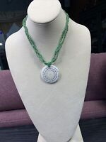 """Bohemian Green Seed bead Flat Shell Mother Of Pearl  pendant necklace 16 """""""