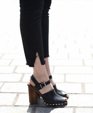 ZARA REAL LEATHER CLOG SANDALS SHOES WITH BUCKLE ANKLE BOOTS 4 37 6.5 NEW