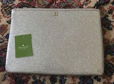 Kate Spade Silver Glitter Cosmetic Bag Clutch Gia Mavis Street WLRU2389 NWT