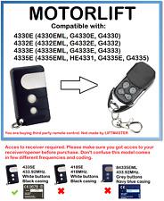 MOTORLIFT 4330E, 4332E, 4333E, 4335E Compatible Remote Control 433.92MHz.