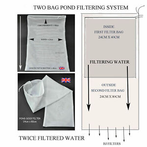 NEW KOI CARP DOUBLE BAG POND FILTERING SYSTEM = ONE BAG FITS INSIDE THE OTHER