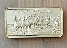Season's Greetings 1973 1 oz. Silver Bar Hamilton Mint