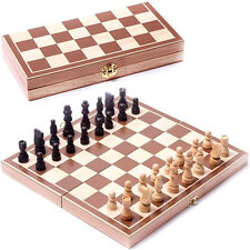 Modern Wooden Pieces Chess Set Folding Board Box Wood Hand Carved Party Toy