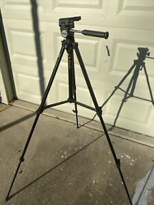 Vintage Vocal Tripod Metal Black Model 20-08-52. Ext 61 3/4 Inch. Folded 22 7/8