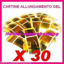 30 CARTINE ALLUNGAMENTO DORATE NAIL RICOSTRUZIONE UNGHIE UV GEL SMALTO ART KIT