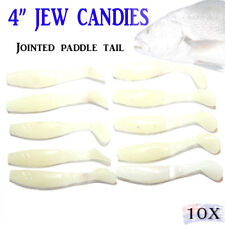 "4"" Glow Jerk Baits Soft Plastic Fishing Lures Paddle Tail Kings Jewfish Shad"