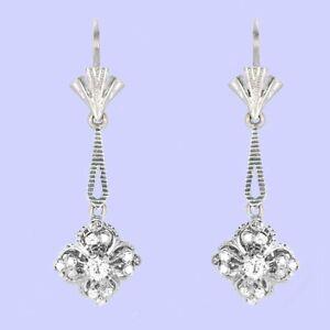14 karat white gold 3/4 carat diamond dangle earrings M-F