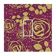 Burgundy & Gold Modern Rose Floral Light Switch Vinyl Sticker Cover Skin Decal