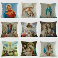 Virgin Mary Cotton Linen Car Bed Waist Cushion Throw Pillow Case Square Cover