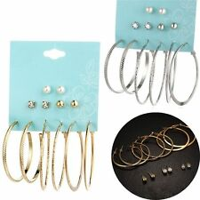 6 Pairs/Set Jewelry Big Simulated Pearl Hoop Round Ear Stud Earrings Set