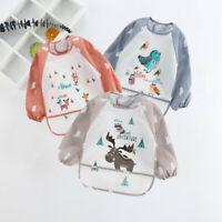 Baby Feeding Smock Apron Waterproof Toddler Infant Kids Long Sleeve Bibs Cartoon