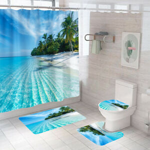 Beach Shower Curtain Bathroom Rug Set Bath Mat Non-Slip Toilet Lid Cover