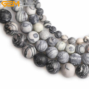"""Natural Forested Matte Stone Black Web Jasper Beads For Jewelry Making 15"""" DIY"""