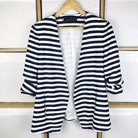 Zara Woman Navy Stripe Open Front Blazer Jacket Size S / UK 10 VGC