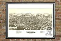 Old Map of Indiana, PA from 1900 - Vintage Pennsylvania Art, Historic Decor