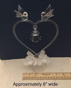 Vintage Hand Blown Glass Clear Wedding Cake Topper Pretty Heart Love Birds Bell