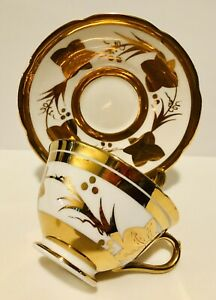 COLLINGWOOD Tea Cup & Saucer Heavy Gold & Flowers Staffordshire England Teacup