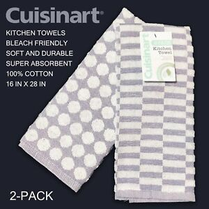 SET OF 2 New Cuisinart Cotton Terry Kitchen Towels Blue White Dots Check Stripes
