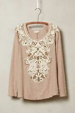 Anthropologie Rococo Pullover Top by Meadow Rue - Sz Petite XXS (Taupe)