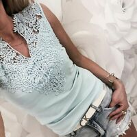 Womens Sleeveless Tank Top Blouse Embroidery Floral Lace Splicing Vest Tee Shirt