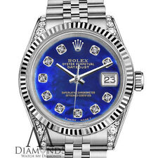 Woman's Rolex 31mm Datejust Blue Color Treated MOP Mother Of Pearl Diamond Watch