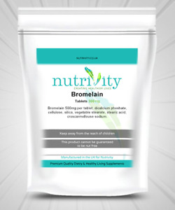 Bromelain 500mg Capsules Nutrivity UK-Made, Protein Digestive Enzyme Supplement