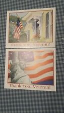 2 Thank You Veteran notecards cards American flag Statue of Liberty