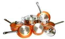 10-Piece Nonstick Copper Frying Pan & Ceramic Cookware Set Induction Base New