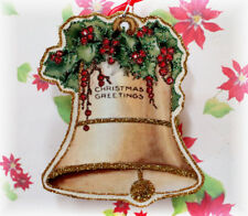 Glittered Wooden Christmas Ornament ~Bell & Holly ~Vintage Card Image ~Handmade`