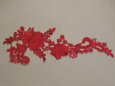 Red floral lace Applique / decorative sewing lace motif for sale. 31cm x 11.5cm
