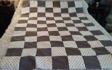 "Quilt top unfin, 49x66""brown, white print 6""blocks, flannel/cott, ship free"