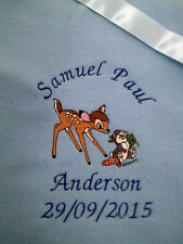personalized  boy / girl  pink or blue bambi and thumper  cot blankets