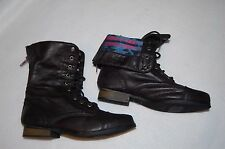 "GIRLS FASHION BOOTS Black LACE UP OR FOLD DOWN TOP 3/4"" HEEL Zippered 1"