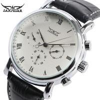 JARAGAR Black/White 22mm Leather Band Week Mens Automatic Mechanical Wrist Watch