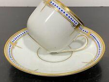 Vtg Bing & Grondahl Copenhagen Porcelain Teacup & Saucer Blue & Gold Trim