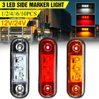 3 LED Front Side Marker Indicator Light Trailer Truck Bus Lorry Van Boat