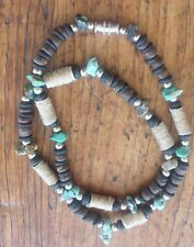 Beach Surfer Necklace 171/2 inch Black Wood Coconut Turquoise Hemp Accent Beads