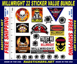 Millwright sticker bundle, hard hat stickers, SH-44