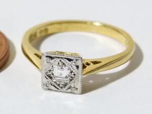 18ct Gold Platinum Square Cut Diamond Ring Art Deco Hallmarked Sz J. #RBA