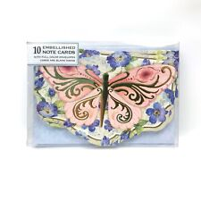 Punch Studio Butterfly Blank Note Cards w/ Gold Color Foil 10 per Box