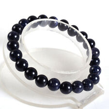 "Charming! 10mm Natural Blue Sunstone Round Stretchy Bracelet 7.5 ""AAA"