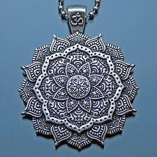 Collar Om Mandala Colgante Plata Cadena de Acero Budista Buda Flor De Loto